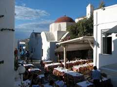 The red domed church of Agia Moni in Mykonos Hora is located close to little venice