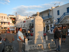 Statue of Mandalena Mavrogenous, a wealthy woman who donated her fortune towards the funding of the 1812 War of Independence, in the Central Square of Mykonos Town