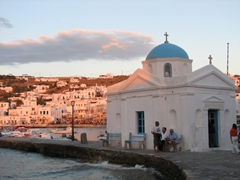 This is our favorite church in Mykonos, Agios Nikolaos, with its gorgeous blue dome