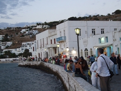 Its dusk and the night owls are just getting ready to start their day in lovely Mykonos