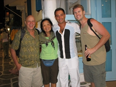 "Bob, Ann, Panos and Robby are all smiles as we remember our earlier ""incident"" outside his house"