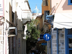 One of Ermoupolis's many narrow pedestrian zones