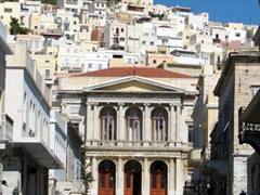 Alleyway view of the Plateia Miaouli and Greek Orthodox church Anastasis