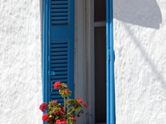 Many windows in Syros were painted sky blue which looked fantastic against a white background