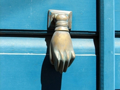 Another unique door knocker in Ano Syros
