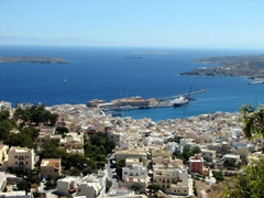 View of the Port of Ermoupolis as seen from Ano Syros
