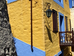 This colorful building stood out against its more demure neighbors in Ano Syros