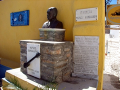 Monument for Markos Vamvakaris, a famous rembetika (Greek blues) singer born in Ano Syros