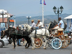 Horse carriages in a row at Plateia Limenarhiou