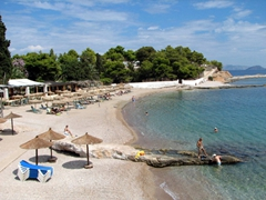 The beach of Agia Marina is a stone's throw away from Spetses Town