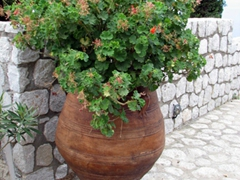 Gigantic flower urn at the entrance to one of Spetses's mansion villas