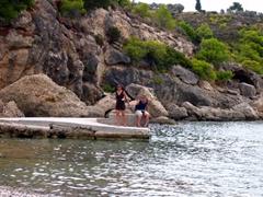 Becky dragging Robby away from Xokeriza Beach