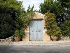 Entranceway to another of Spetses's beautiful beachfront mansions