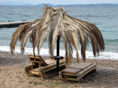 Doesn't this sun bed at Kaiki Beach look inviting? (the beach is within walking distance of Spetses Town)