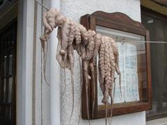 Fresh octopus hanging outside a restaurant; Plateia Limenarhiou