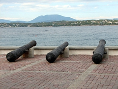 Canons pointed seaward; Old Harbor
