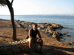 Robby soaking up the last rays of sunlight; Ligoneri Beach