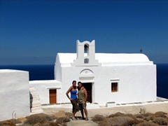 Posing in front of a simple white church