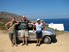 Robby, Bob and Ann pose in front of the rental car that managed to navigate on Sifnos's rough terrain