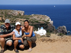 Bob, Ann and Becky pose with Panagia Poulati in the background
