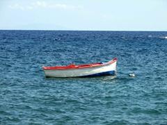 Boat floating off the coast of Saralia