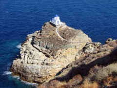 This church looks like it miraculously appeared on this rock jutting out of the sea; Seven Martyr's Church; Kastro