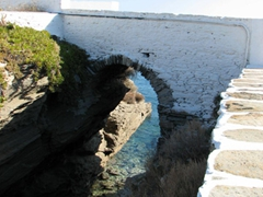This foot bridge connects the 17th century monastery's rocky islet to the mainland