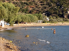 Vathi's pebble stoned beach has several nice tavernas and is a great place to spend an afternoon