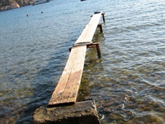 Come walk the plank and jump right in; Vathi Bay