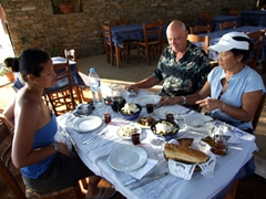 Getting ready to dig in at Manolis Restaurant; Vathi