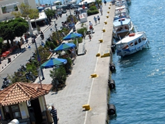 Our tiny cruise was able to dock right here; Poros Town