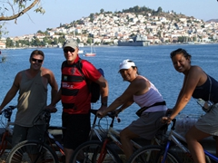 Group photo with Poros Town in the background
