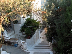 The steps we walked up to reach the best sunset spot on Poros