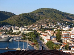 Panoramic views can be had from the top of the clock tower; Poros Town