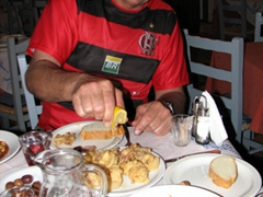 Bob digs in for dinner at the excellent Taverna Karavolos