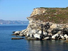 The rugged coastline of Hydra Island