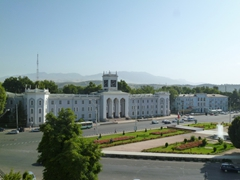 View of Behzod Museum flanking Aini Square; Dushanbe