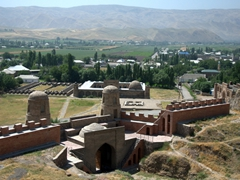 A magnificent panorama over Hisor Fort, the Registan (square before the fortress), madrassahs, and caravanserai