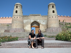 Striking a pose before the gate of old Hisor Fort; outskirts of Dushanbe