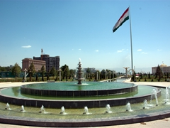 View of the world's tallest flagpole (165 meters) flying a 700 KG (1543 lbs) flag in front of the Palace of Nations; Dushanbe