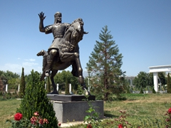 Heroic statues on display in the gardens surrounding the National Museum of Tajikistan; Dushanbe