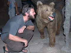 Robby growls at a bear; National Museum