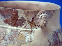 7th Century ceramic vessel with image of a man's head found in Penjikent; National Museum