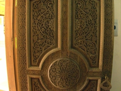 Intricately carved wooden door; Sughd Museum, Khujand