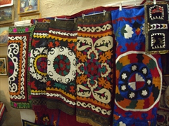 Colorful tablecloths for sale; Historical Museum of Sughd, Khujand