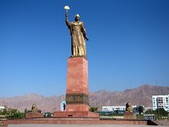 10th Century ruler Ismoil Somoni commands this fine lookout point in Khujand (replacing a Lenin statue that has since been relocated to a park down the street)