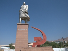 View of the tallest statue of Lenin in Central Asia; Khujand