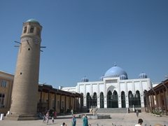 View of Khujand's Jami Masjid (Jami Mosque), Minaret and Madrassa, located on the bazaar square