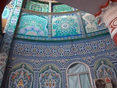 Beautiful tile work at the entranceway to Khujand's Panjshanbe Bazaar