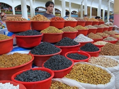 A huge selection of dried fruit and nuts for sale; Khujand Bazaar
